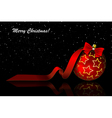 Christmas red balls on black vector image