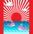 pink whale swimming in the sea with sunshine and vector image