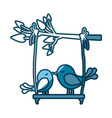 blue silhouette of tree branch with swing and vector image