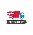 free shipping icon truck moving fast and vector image vector image