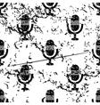 Microphone pattern grunge monochrome vector image