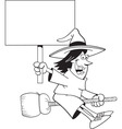 Cartoon witch holding a sign while riding a broom vector image