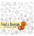 Sketch Set of Foods and Drinks vector image vector image