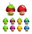 Cute cartoon mushrooms set vector image