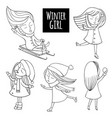black and white set snow fun vector image