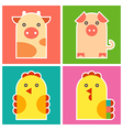 Chicken cock pig and cow vector image