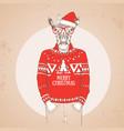 christmas hipster fashion animal giraffe vector image