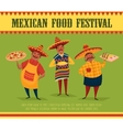 Mexican food Chefs with pizza tacos and corn vector image