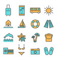 summer holidays travel icons set vector image