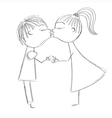 Hand drawing girl and boy kiss vector