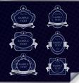 set of vintage dark blue frame labels vector image