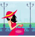 beautiful women Shopping in Paris vector image vector image