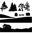 silhouettes of rural elements vector image