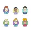Flat line icons set of people stylish avatars vector image
