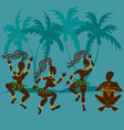 Dancing African aborigine girls and drummer vector image