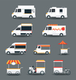 Food Vehicles Truck Van Pushcart White Body vector image