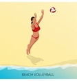 Isometric Volleyball player on a beach vector image
