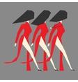 Walking modern Vietnamese women with Ao dai vector image