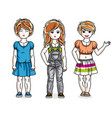 cute little girls standing in stylish casual vector image vector image