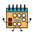calendar event symbol cute kawaii cartoon vector image