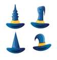 cartoon glossy blue witch hat isolated vector image
