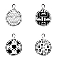 Christmas Ball Black And White Icon Collection vector image