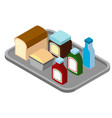 different food on the tray vector image