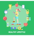 Healthy Lifestyle Fitness Icon Set with Fit Woman vector image