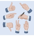 Set of business man hands vector image