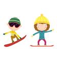 snowboarding kids vector image