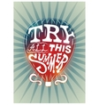 Typographic retro summer poster with air balloon vector image