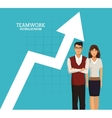 woman and man teamwork arrow chart business vector image