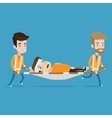 Emergency doctors carrying man on stretcher vector image