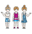 cute little girls standing wearing fashionable vector image vector image