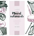 musical instruments - hand drawn vintage banner vector image
