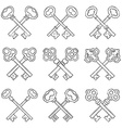 Set of crossed hand drawn keys vector image