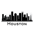 Houston City skyline black and white silhouette vector image
