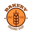 Organic bakery shop orange symbol with wheat vector image