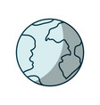 Blue shading silhouette of earth globe icon vector image