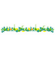 border of a set of bouquets of fruits and leaves vector image