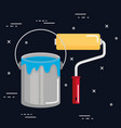 bucket of paint roller tools work icons vector image