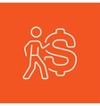 Businessman with a big dollar symbol line icon vector image