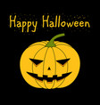 card with a evil pumpkin for halloween vector image