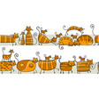 cute striped cats family seamless pattern for vector image