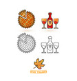 cute wine leaf and pie thanksgiving icons set vector image