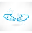 handshake grunge icon vector image
