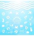 happy summer holiday sea icons vector image