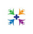 human health cross with star logo image vector image