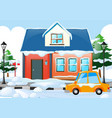 scene with house and car covered by snow vector image
