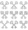 Set of crossed hand drawn keys vector image